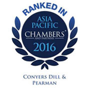 Conyers Dill & Pearman has a top tier ranking in Chambers' Asia-Pacific 2016