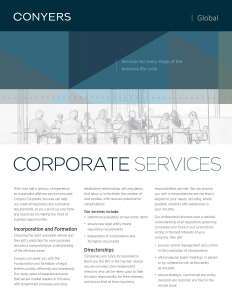 Conyers Corporate Services Brochure Cover